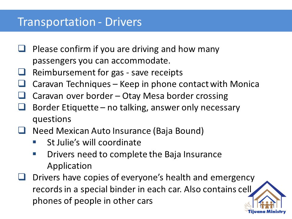 Transportation - Drivers  Please confirm if you are driving and how many passengers you can accommodate.