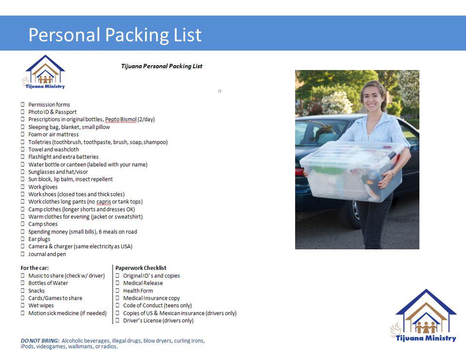 Personal Packing List Bob (5 mins)