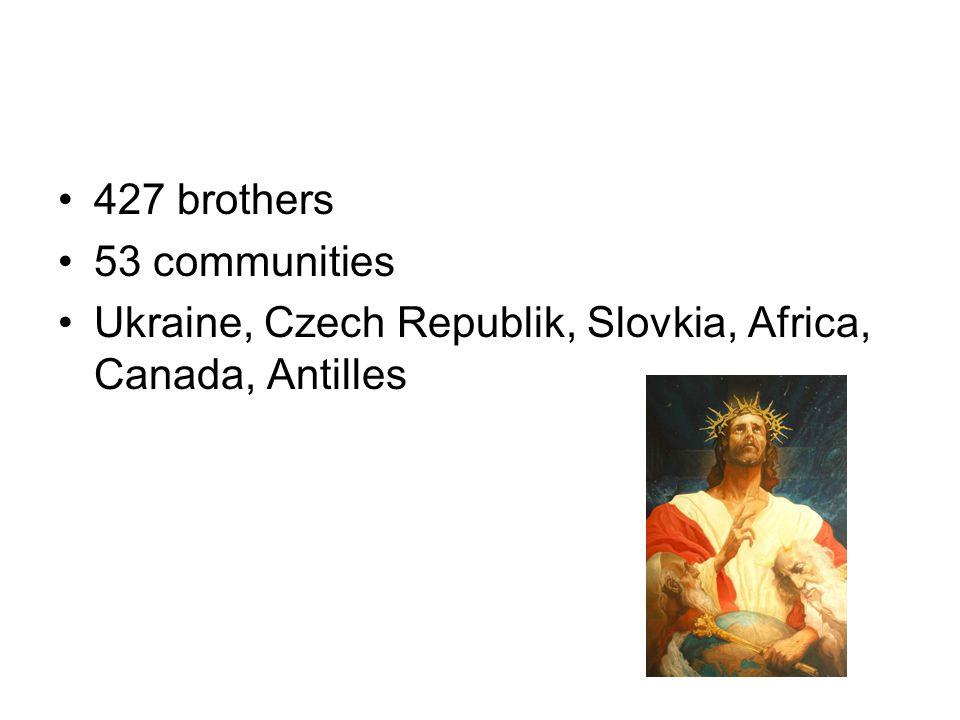 427 brothers 53 communities Ukraine, Czech Republik, Slovkia, Africa, Canada, Antilles