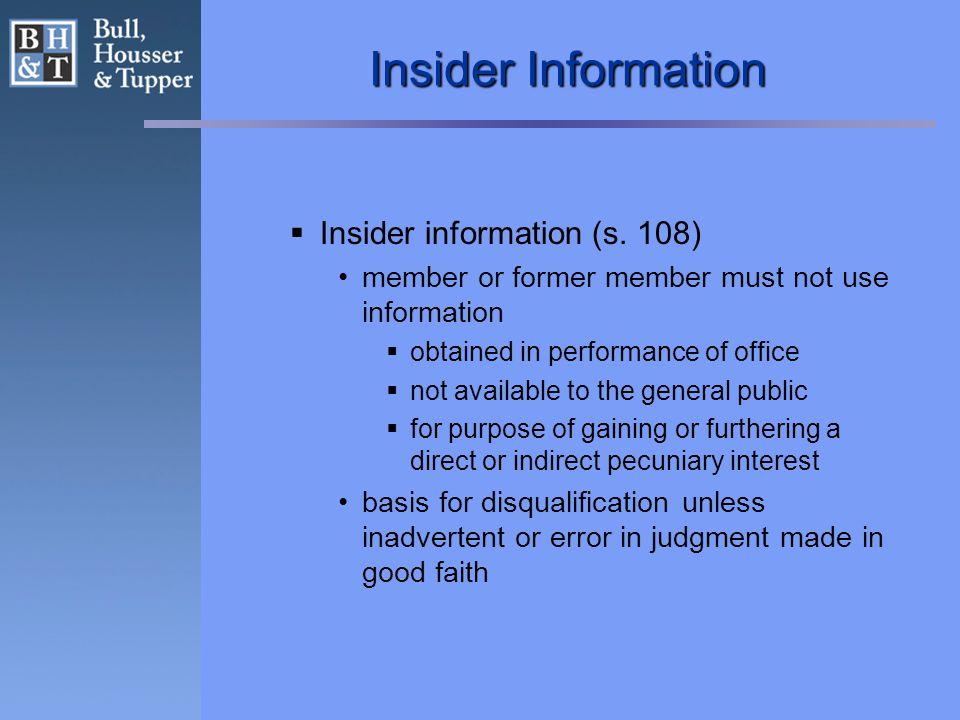 Insider Information  Insider information (s.