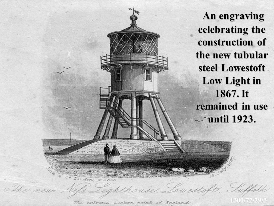 An engraving celebrating the construction of the new tubular steel Lowestoft Low Light in 1867.