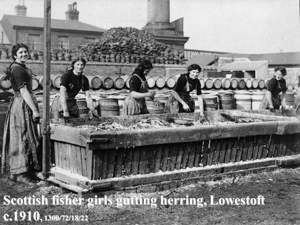 Scottish fisher girls gutting herring, Lowestoft c.1910, 1300/72/18/22
