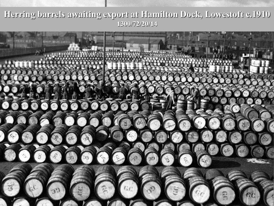 Herring barrels awaiting export at Hamilton Dock, Lowestoft c.1910 1300/72/20/14