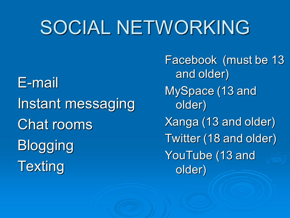 SOCIAL NETWORKING E-mail Instant messaging Chat rooms BloggingTexting Facebook (must be 13 and older) MySpace (13 and older) Xanga (13 and older) Twitter (18 and older) YouTube (13 and older)