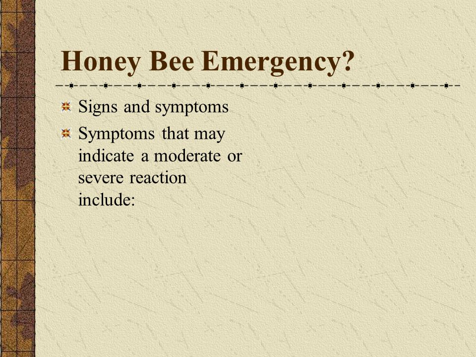 Honey Bee Emergency.