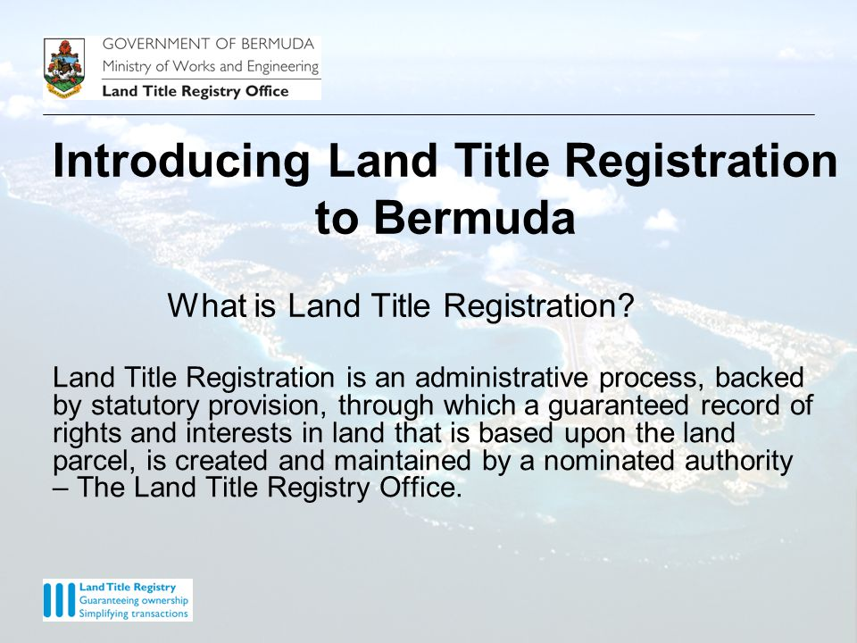 The Land Title Register – A record of rights and interests in land TITLE REFERENCE NUMBER : 001230 PROPERTY REGISTER - FREEHOLD ------------------------------------------------------------------------------------------------------------------------------- BERMUDA : DEVONSHIRE PARISH 1.