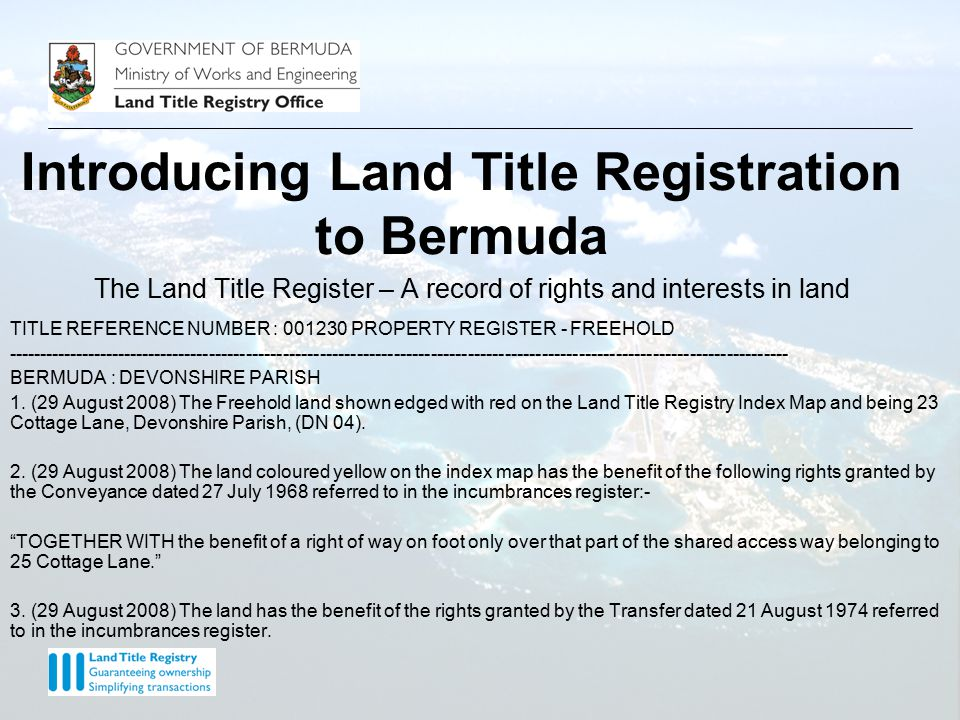 NORWOOD – Bermuda Land Title Registration Information System