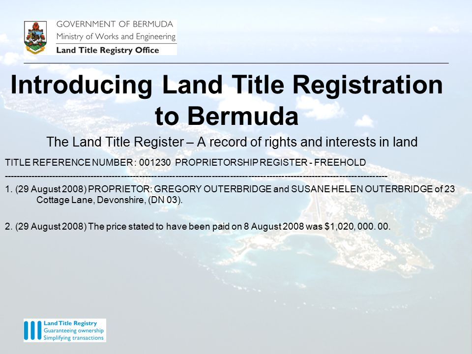 The Land Title Register – A record of rights and interests in land TITLE REFERENCE NUMBER : 001230 INCUMBRANCES REGISTER - FREEHOLD ------------------------------------------------------------------------------------------------------------------------------- 1.