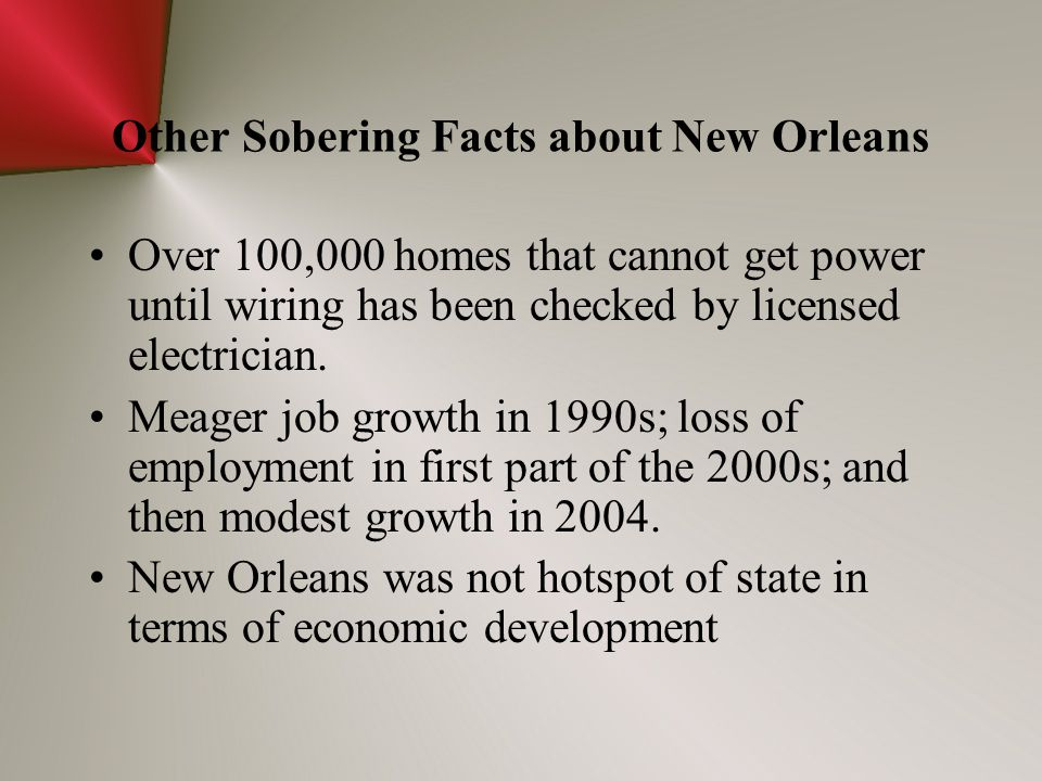 Other Sobering Facts about New Orleans Over 100,000 homes that cannot get power until wiring has been checked by licensed electrician. Meager job grow