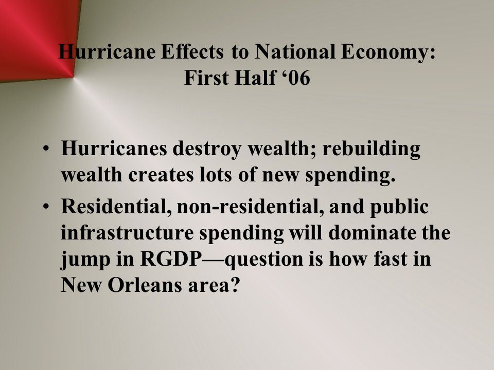 Hurricane Effects to National Economy: First Half '06 Hurricanes destroy wealth; rebuilding wealth creates lots of new spending. Residential, non-resi