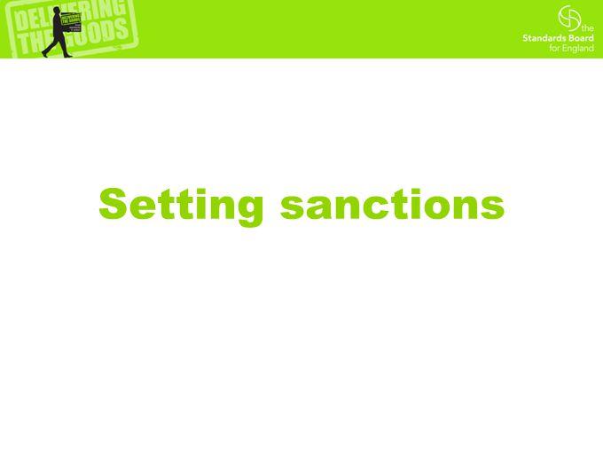 Setting sanctions