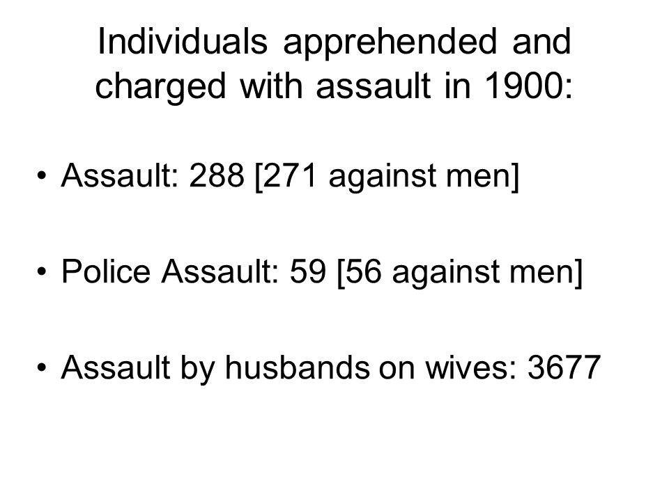 Individuals apprehended and charged with assault in 1900: Assault: 288 [271 against men] Police Assault: 59 [56 against men] Assault by husbands on wives: 3677
