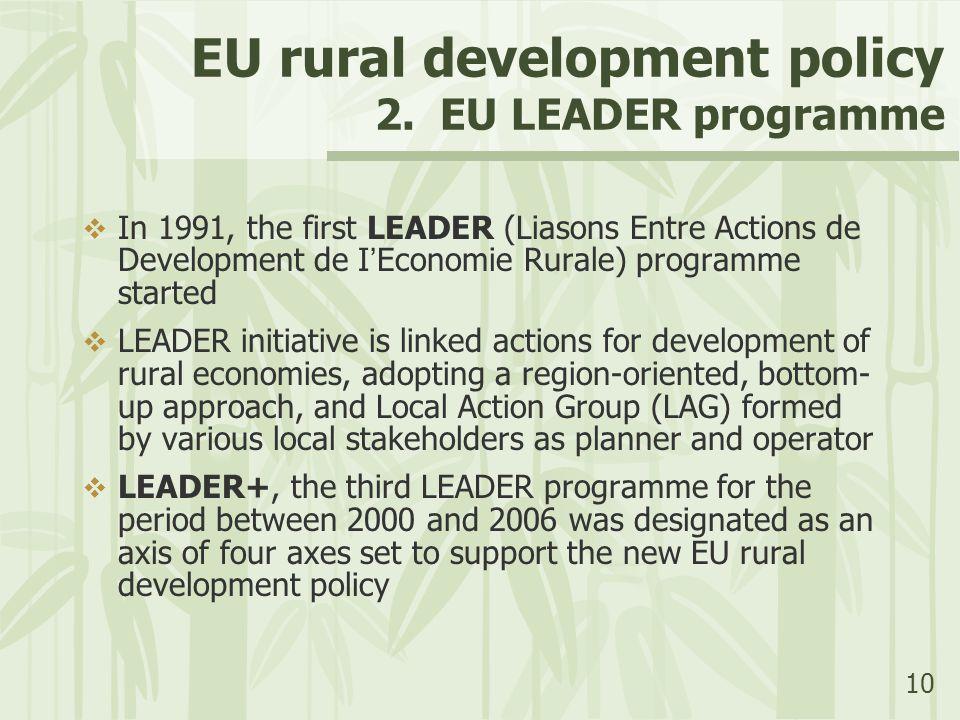 10 EU rural development policy 2. EU LEADER programme  In 1991, the first LEADER (Liasons Entre Actions de Development de I ' Economie Rurale) progra