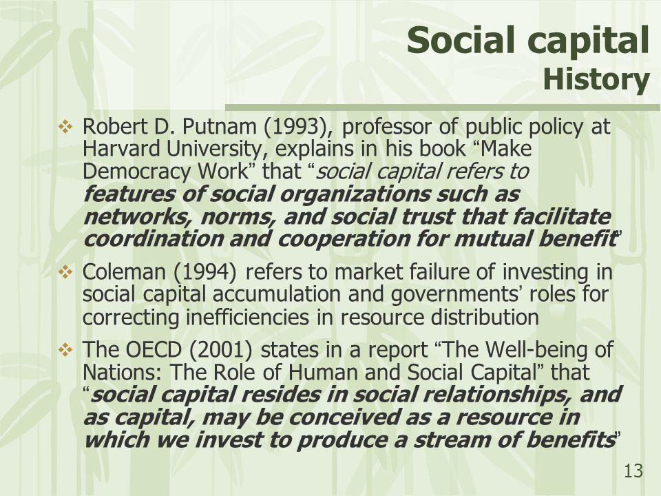 "13 Social capital History  Robert D. Putnam (1993), professor of public policy at Harvard University, explains in his book "" Make Democracy Work "" th"