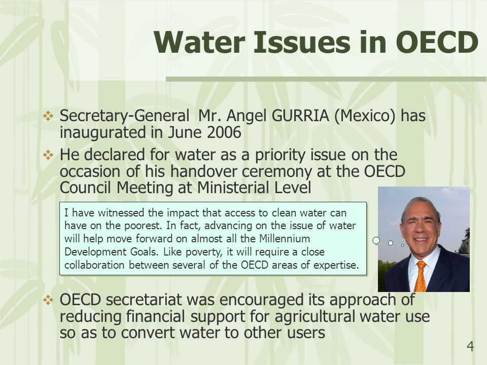 4 Water Issues in OECD  Secretary-General Mr. Angel GURRIA (Mexico) has inaugurated in June 2006  He declared for water as a priority issue on the o