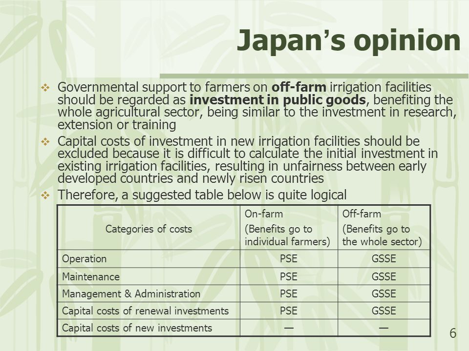 6 Japan ' s opinion  Governmental support to farmers on off-farm irrigation facilities should be regarded as investment in public goods, benefiting the whole agricultural sector, being similar to the investment in research, extension or training  Capital costs of investment in new irrigation facilities should be excluded because it is difficult to calculate the initial investment in existing irrigation facilities, resulting in unfairness between early developed countries and newly risen countries  Therefore, a suggested table below is quite logical Categories of costs On-farm (Benefits go to individual farmers) Off-farm (Benefits go to the whole sector) OperationPSEGSSE MaintenancePSEGSSE Management & AdministrationPSEGSSE Capital costs of renewal investmentsPSEGSSE Capital costs of new investments——