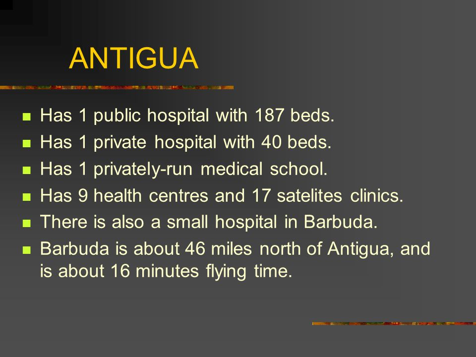 ANTIGUA Has 1 public hospital with 187 beds. Has 1 private hospital with 40 beds.