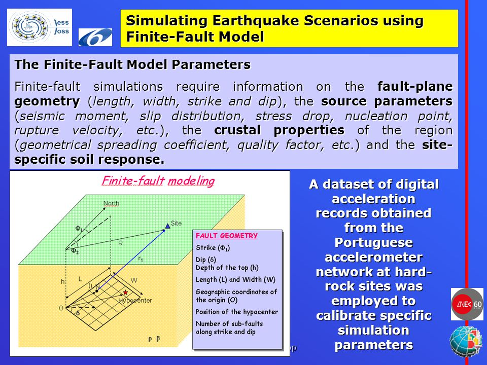 Lisbon, May 24 th and 25 th 2007, LESSLOSS Dissemination workshop Simulating Earthquake Scenarios using Finite-Fault Model The Finite-Fault Model Parameters Finite-fault simulations require information on the fault-plane geometry (length, width, strike and dip), the source parameters (seismic moment, slip distribution, stress drop, nucleation point, rupture velocity, etc.), the crustal properties of the region (geometrical spreading coefficient, quality factor, etc.) and the site- specific soil response.
