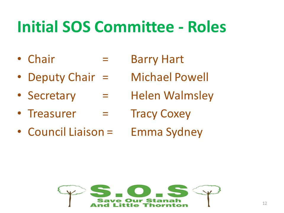 Initial SOS Committee - Roles Chair =Barry Hart Deputy Chair = Michael Powell Secretary= Helen Walmsley Treasurer=Tracy Coxey Council Liaison =Emma Sydney 12
