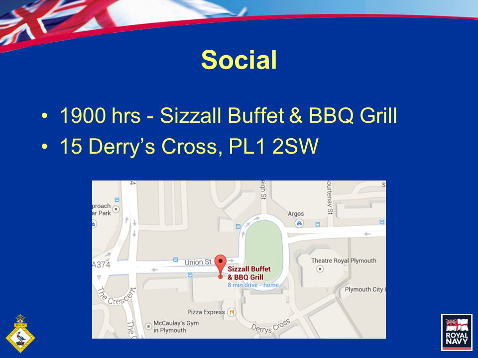 Social 1900 hrs - Sizzall Buffet & BBQ Grill 15 Derry's Cross, PL1 2SW