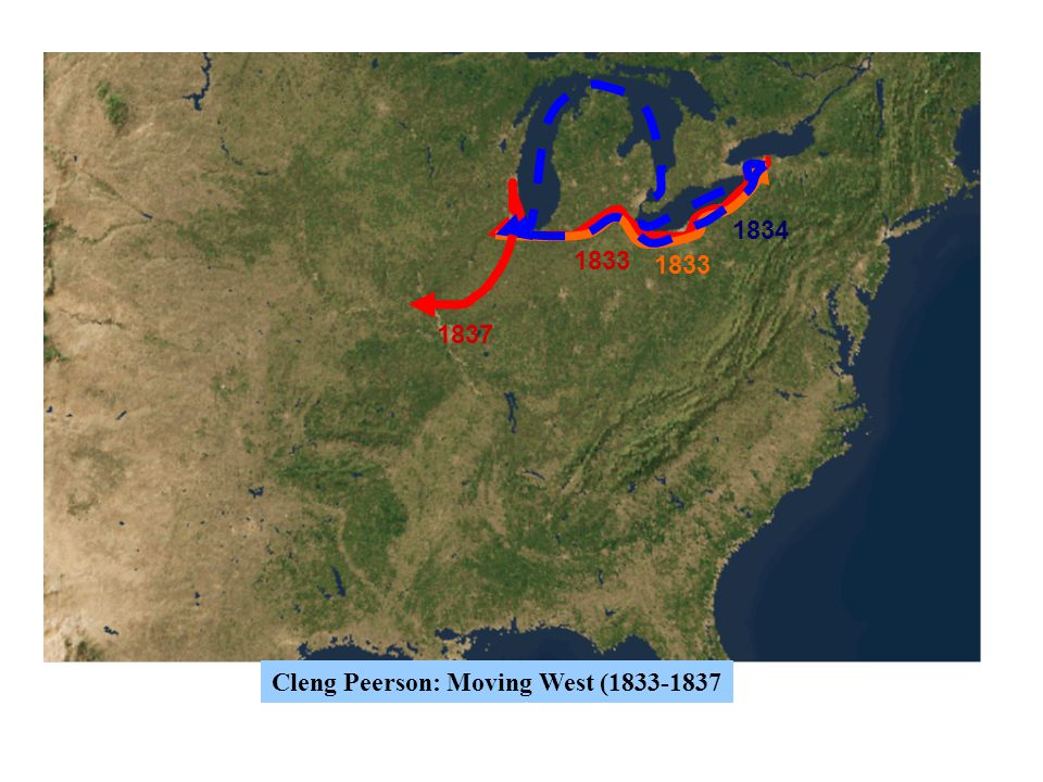 1833 1834 1837 Cleng Peerson: Moving West (1833-1837