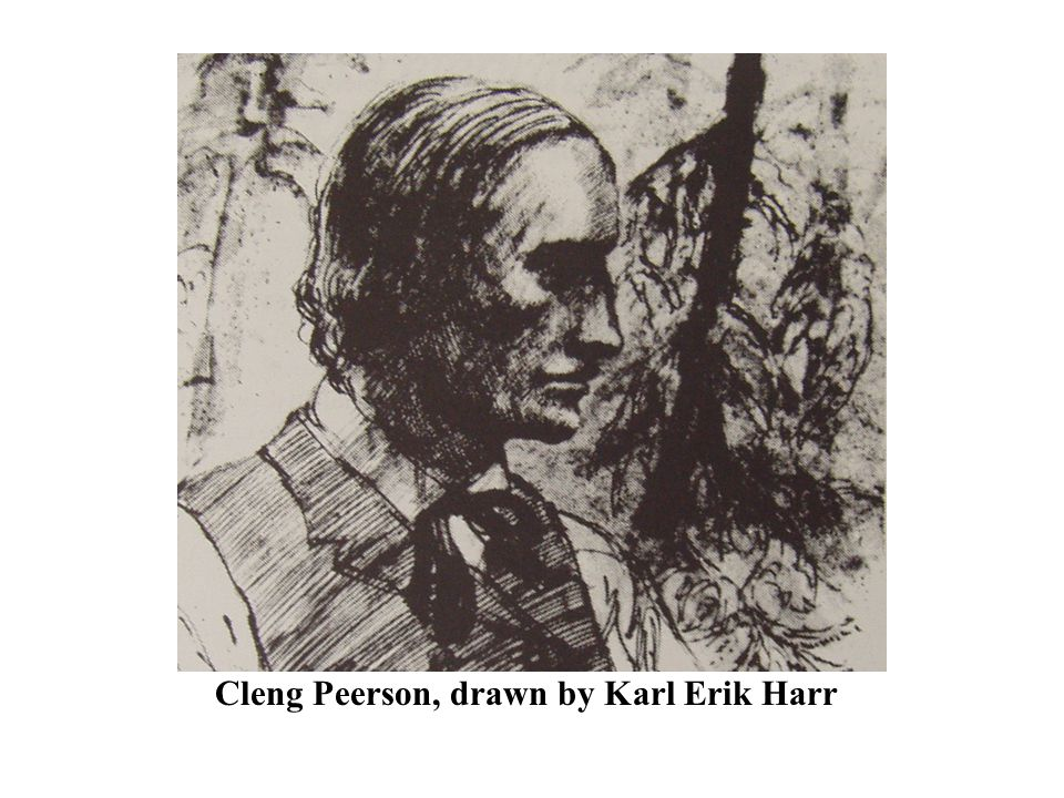Cleng Peerson, drawn by Karl Erik Harr