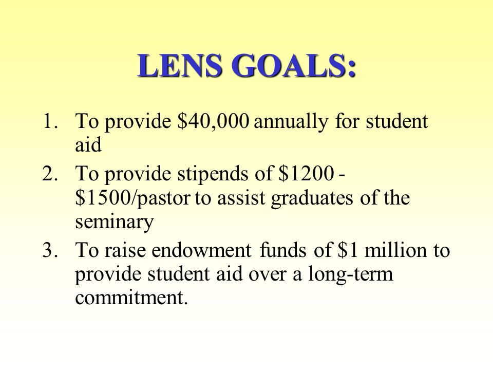 LENS is a non-profit endowment foundation with 501(C )(3) status located in McLean, VA operated entirely by volunteers LENS' MISSION: LENS' MISSION: is to support the struggling, but inspired work of Lutheran pastors, seminarians and congregations throughout Russia and the Commonwealth of Independent States.