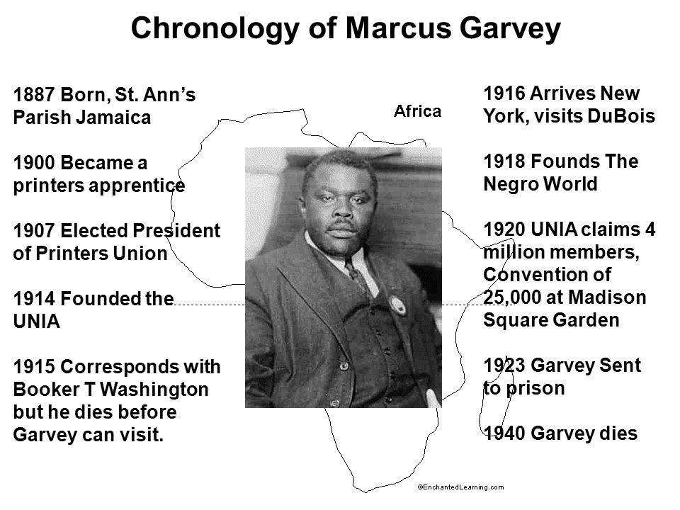 Chronology of Marcus Garvey 1887 Born, St.