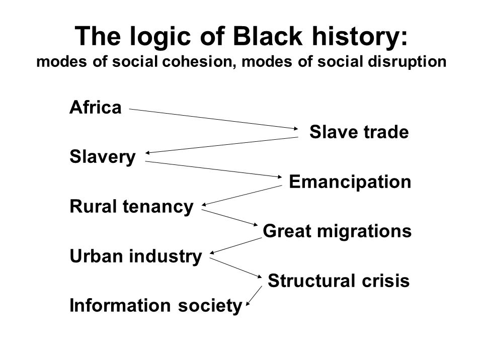 Africa Slave trade Slavery Emancipation Rural tenancy Great migrations Urban industry Structural crisis Information society The logic of Black history: modes of social cohesion, modes of social disruption