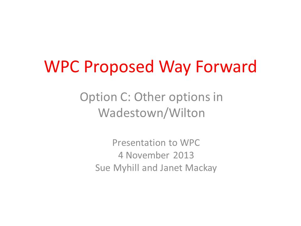 WPC Proposed Way Forward Option C: Other options in Wadestown/Wilton Presentation to WPC 4 November 2013 Sue Myhill and Janet Mackay