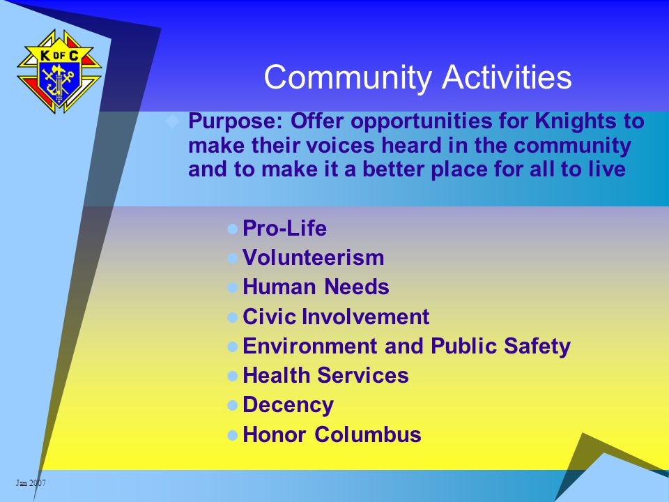 Jan 2007 Community Activities  Purpose: Offer opportunities for Knights to make their voices heard in the community and to make it a better place for