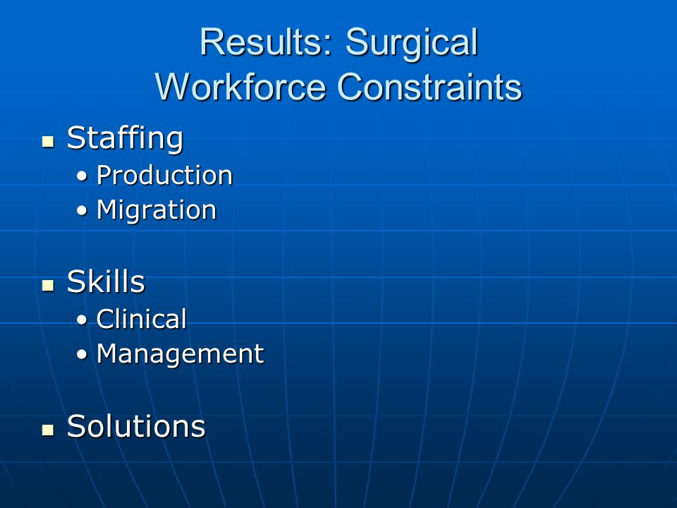 Results: Surgical Workforce Constraints Staffing Staffing ProductionProduction MigrationMigration Skills Skills ClinicalClinical ManagementManagement Solutions Solutions