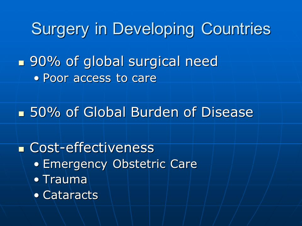 Surgery in Developing Countries 90% of global surgical need 90% of global surgical need Poor access to carePoor access to care 50% of Global Burden of