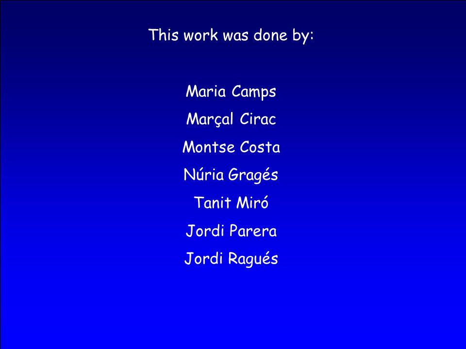 This work was done by: Maria Camps Marçal Cirac Montse Costa Núria Gragés Tanit Miró Jordi Parera Jordi Ragués