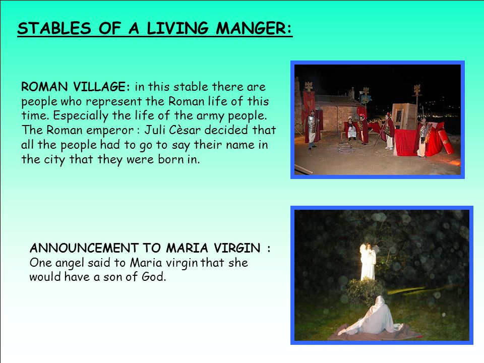 STABLES OF A LIVING MANGER: ROMAN VILLAGE: in this stable there are people who represent the Roman life of this time.