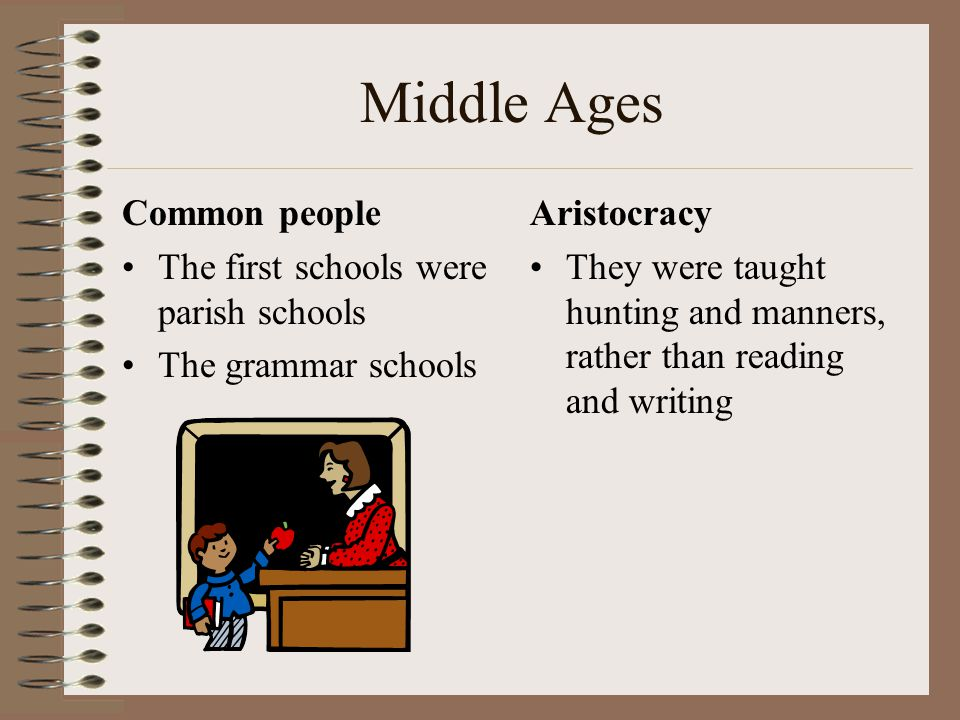 Middle Ages Common people The first schools were parish schools The grammar schools Aristocracy They were taught hunting and manners, rather than read