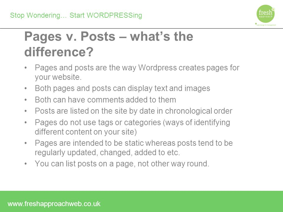 Stop Wondering… Start WORDPRESSing Pages v.