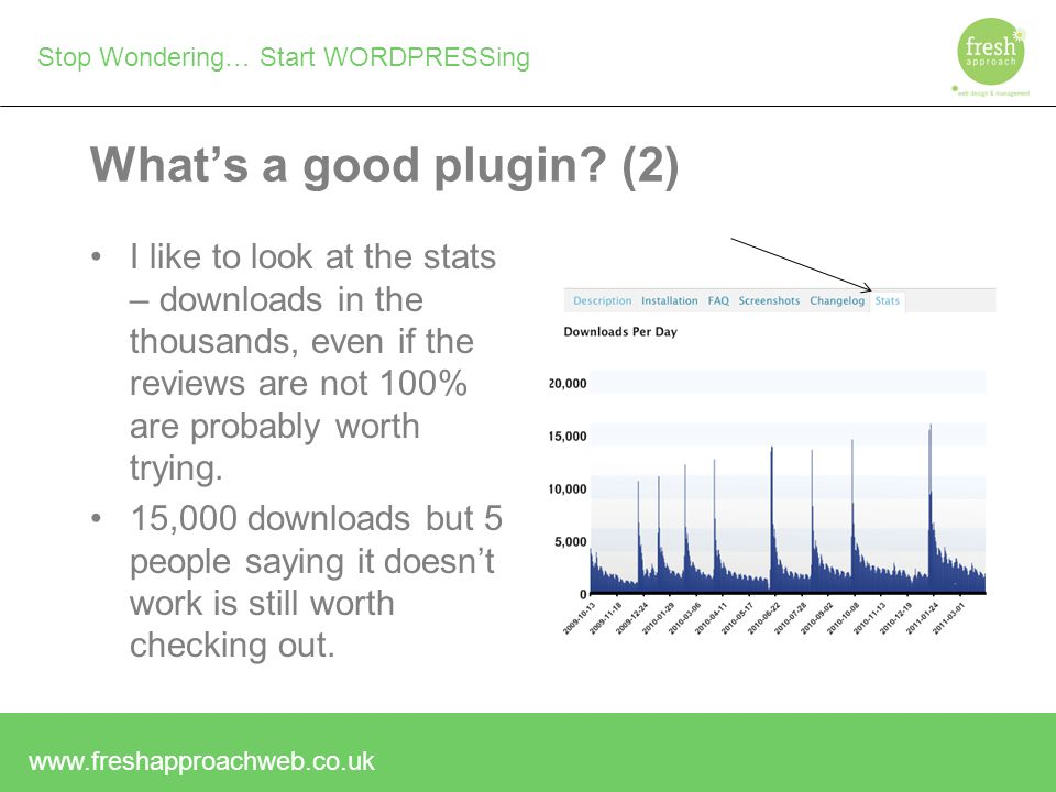 Stop Wondering… Start WORDPRESSing What's a good plugin.