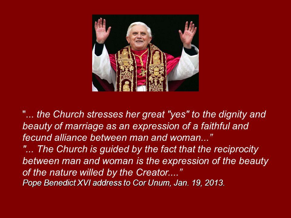Pope Benedict XVI address to Cor Unum, Jan. 19, 2013.