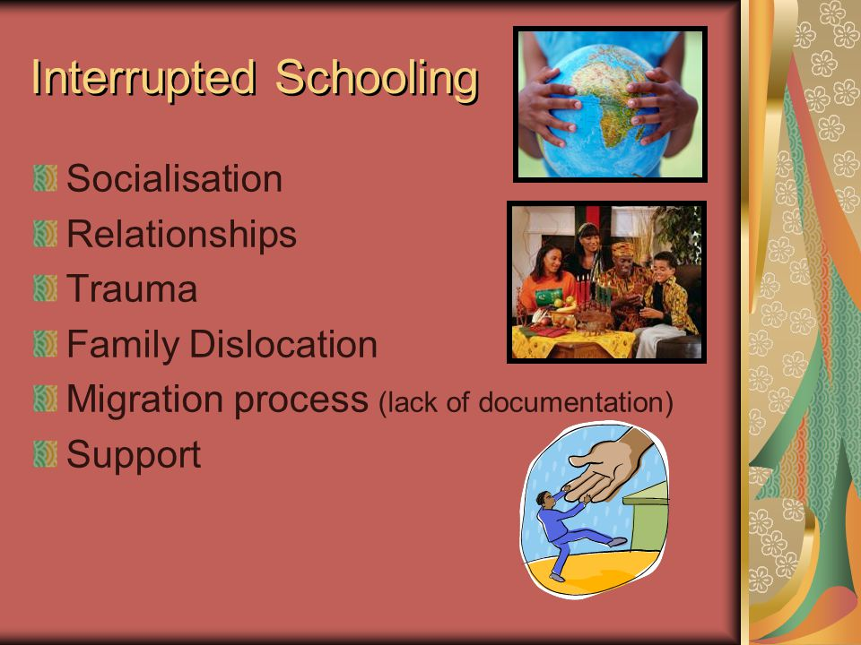 Inter Relationship Diagram TRAUMA DISLOCATION INTERRUPTED SCHOOLING LIMITED SCHOOLING UNREALISTIC ASPIRATIONS (2,1) (3,0) (2,2) (1,3) (0,2) *Our Inter relationship diagram showed DISLOCATION and INTERUPTED SCHOOLING as the driving forces of the issues.