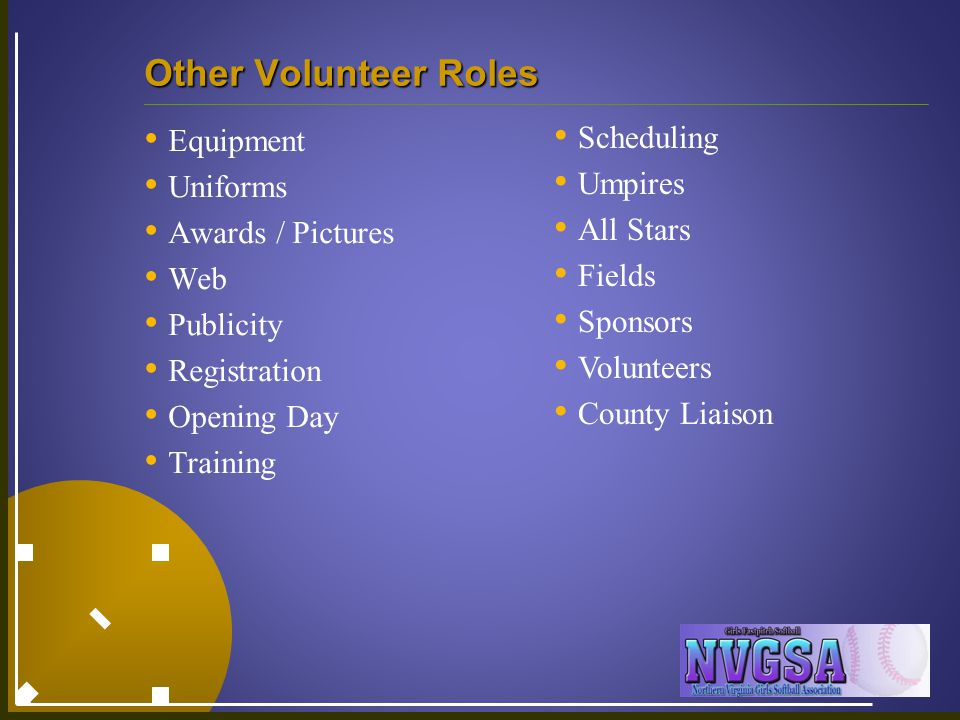 Other Volunteer Roles Equipment Uniforms Awards / Pictures Web Publicity Registration Opening Day Training Scheduling Umpires All Stars Fields Sponsor
