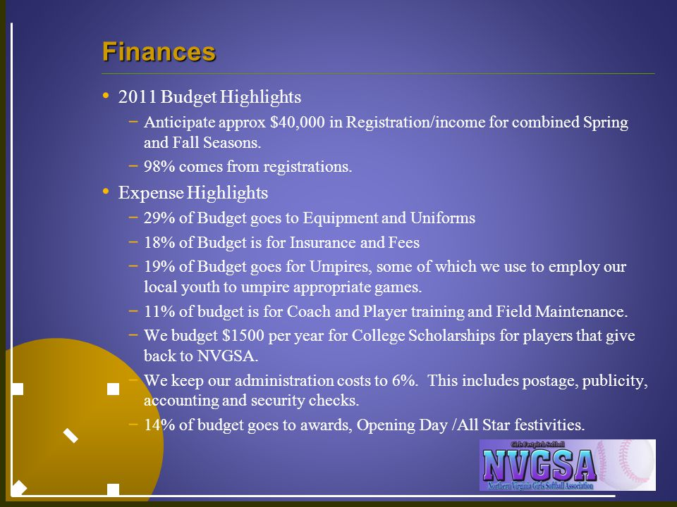 Finances 2011 Budget Highlights - Anticipate approx $40,000 in Registration/income for combined Spring and Fall Seasons. - 98% comes from registration