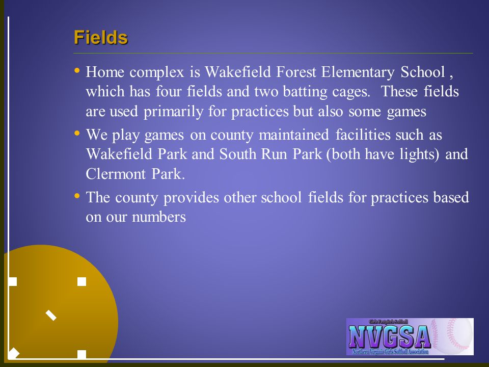 Fields Home complex is Wakefield Forest Elementary School, which has four fields and two batting cages. These fields are used primarily for practices
