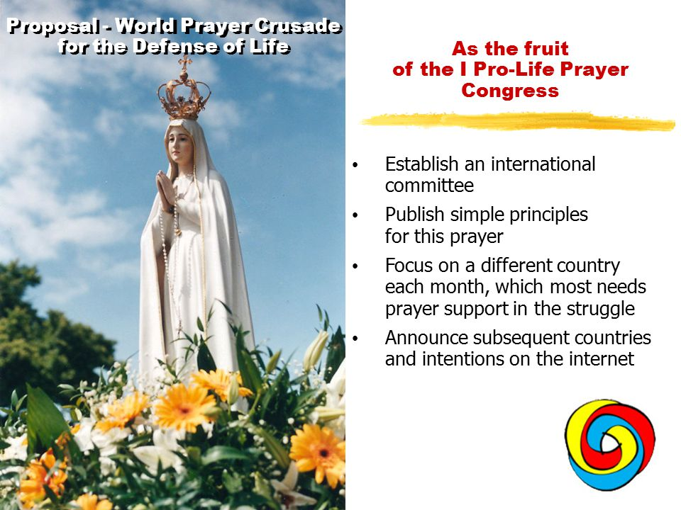 Proposal - World Prayer Crusade for the Defense of Life Establish an international committee Publish simple principles for this prayer Focus on a different country each month, which most needs prayer support in the struggle Announce subsequent countries and intentions on the internet As the fruit of the I Pro-Life Prayer Congress