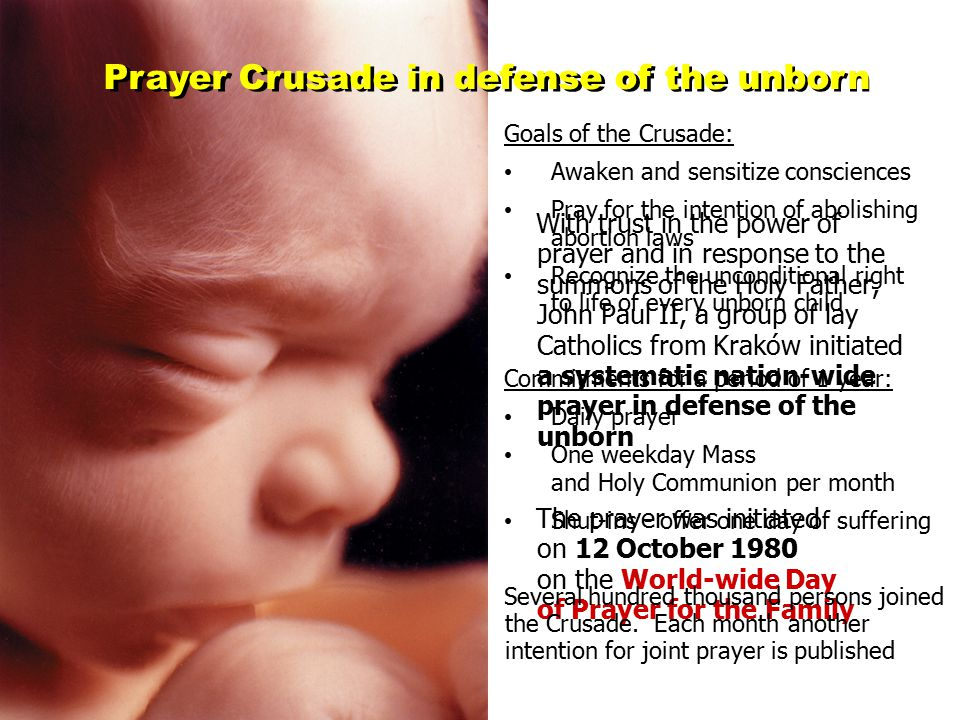 Spiritual Adoption of an Unborn Child Prayer to save an unborn child in danger of being aborted and its parents The idea of spiritual adoption arose in England and France shortly after the appearances of Our Lady in Fatima, in response to her summons to pray the Rosary and to make reparation for the greatest sins 2 February 1987 - the first act of spiritual adoption in Poland at the Church of the Pauline Fathers in Warsaw Spiritual Adoption consists in: Making a public promise of prayer (to the extent possible) during a solemn Mass after personal preparation at a 3-day retreat Daily prayer for 9 months for a single child known only to God - 1 mystery of the Rosary and special prayers Additional voluntary obligations