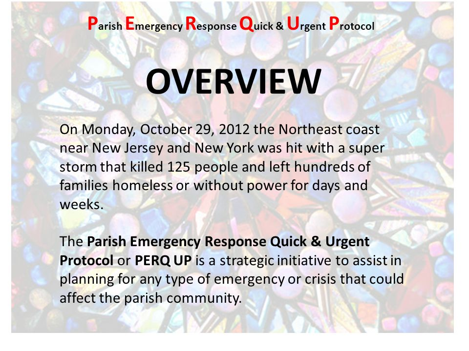 OVERVIEW continued In the early moments of an emergency or crisis situation, it makes practical and logistical sense to have some plan or protocol in place that has been prepared in advance to respond in a quick and urgent manner so as to reduce or eliminate damage, destruction, and death.