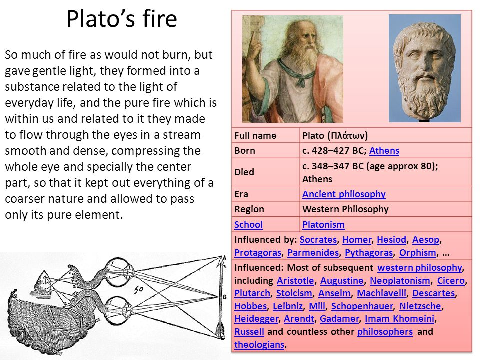 Plato's fire So much of fire as would not burn, but gave gentle light, they formed into a substance related to the light of everyday life, and the pure fire which is within us and related to it they made to flow through the eyes in a stream smooth and dense, compressing the whole eye and specially the center part, so that it kept out everything of a coarser nature and allowed to pass only its pure element.