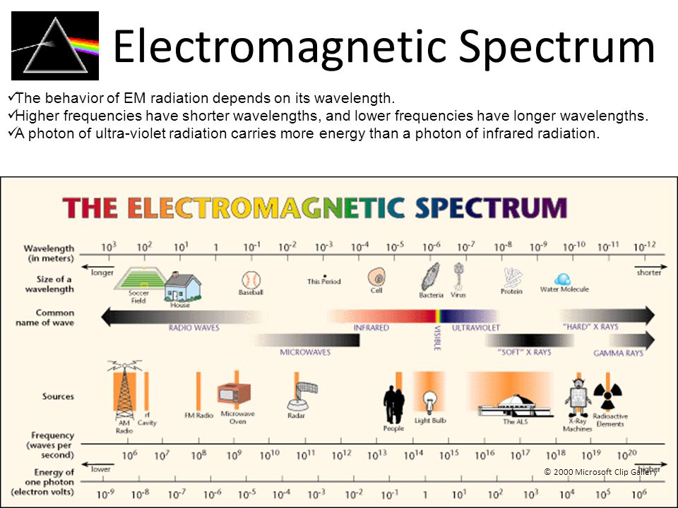 Electromagnetic Spectrum © 2000 Microsoft Clip Gallery The behavior of EM radiation depends on its wavelength.
