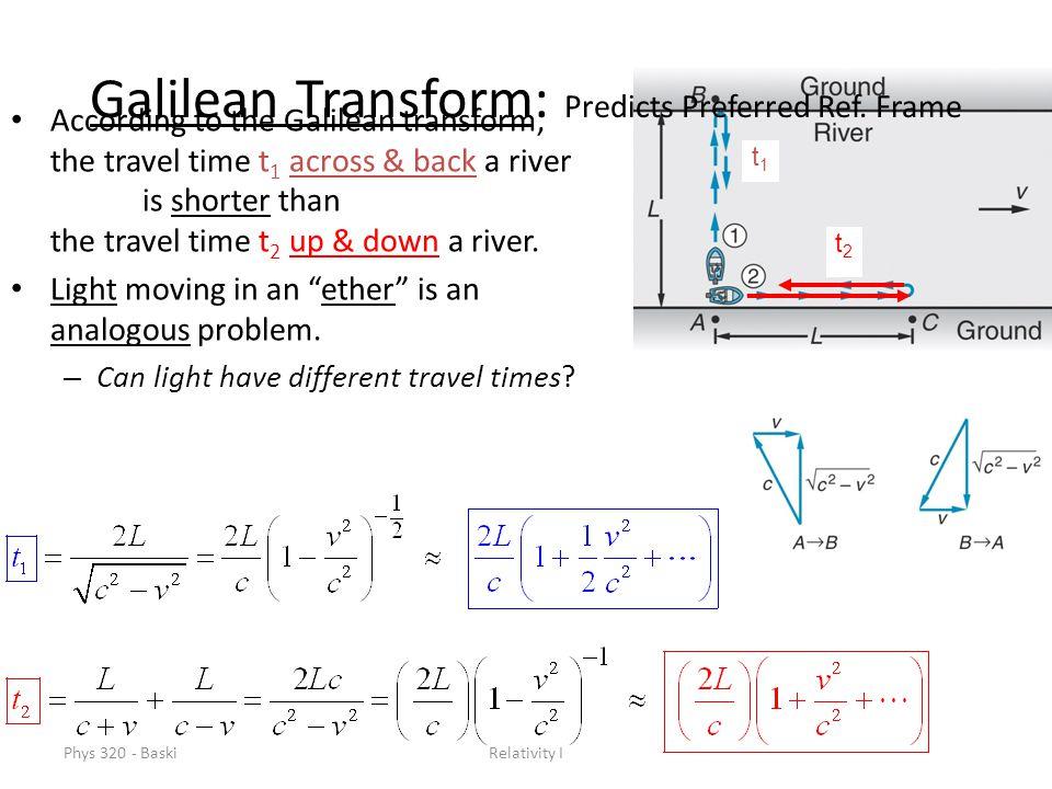Phys 320 - BaskiRelativity I Galilean Transform: Predicts Preferred Ref.