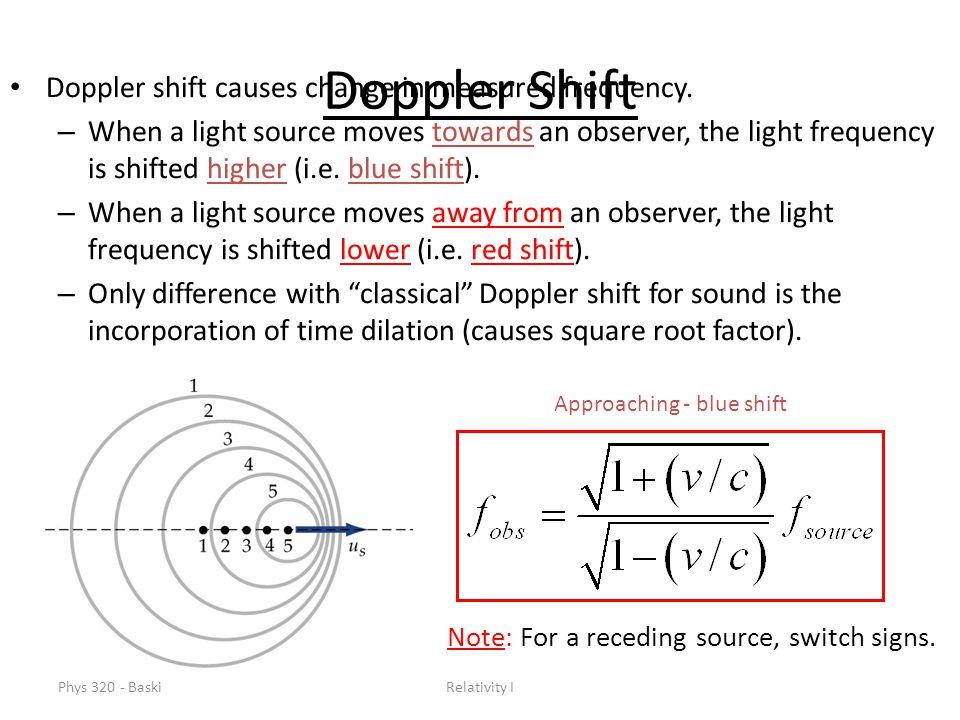 Phys 320 - BaskiRelativity I Doppler Shift Doppler shift causes change in measured frequency.